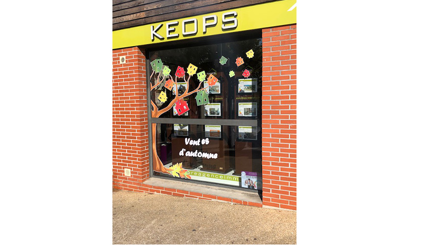 MARQUAGE VITRINE KEOPS IMMOBILIER MONTPELLIER